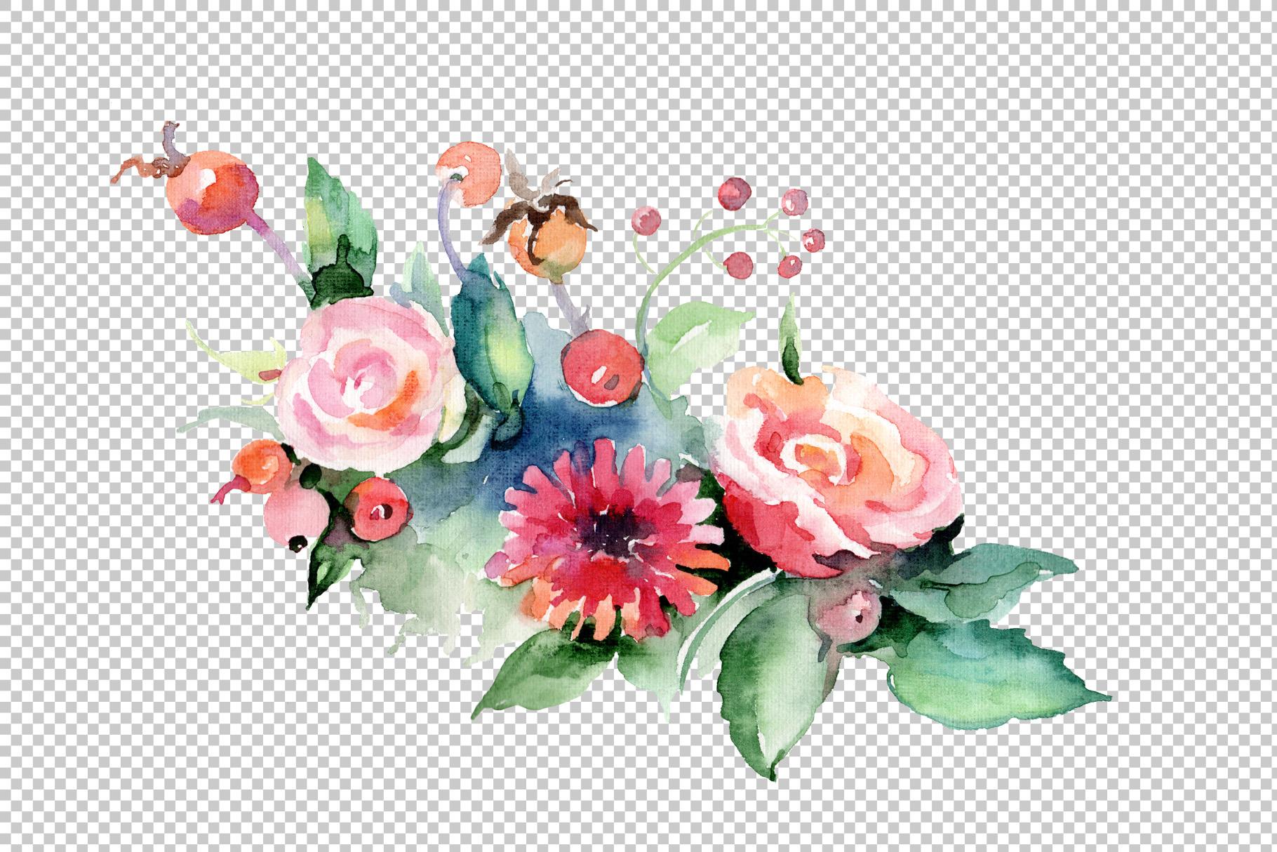 Cute bouquet flowers PNG watercolor set | Design Bundles
