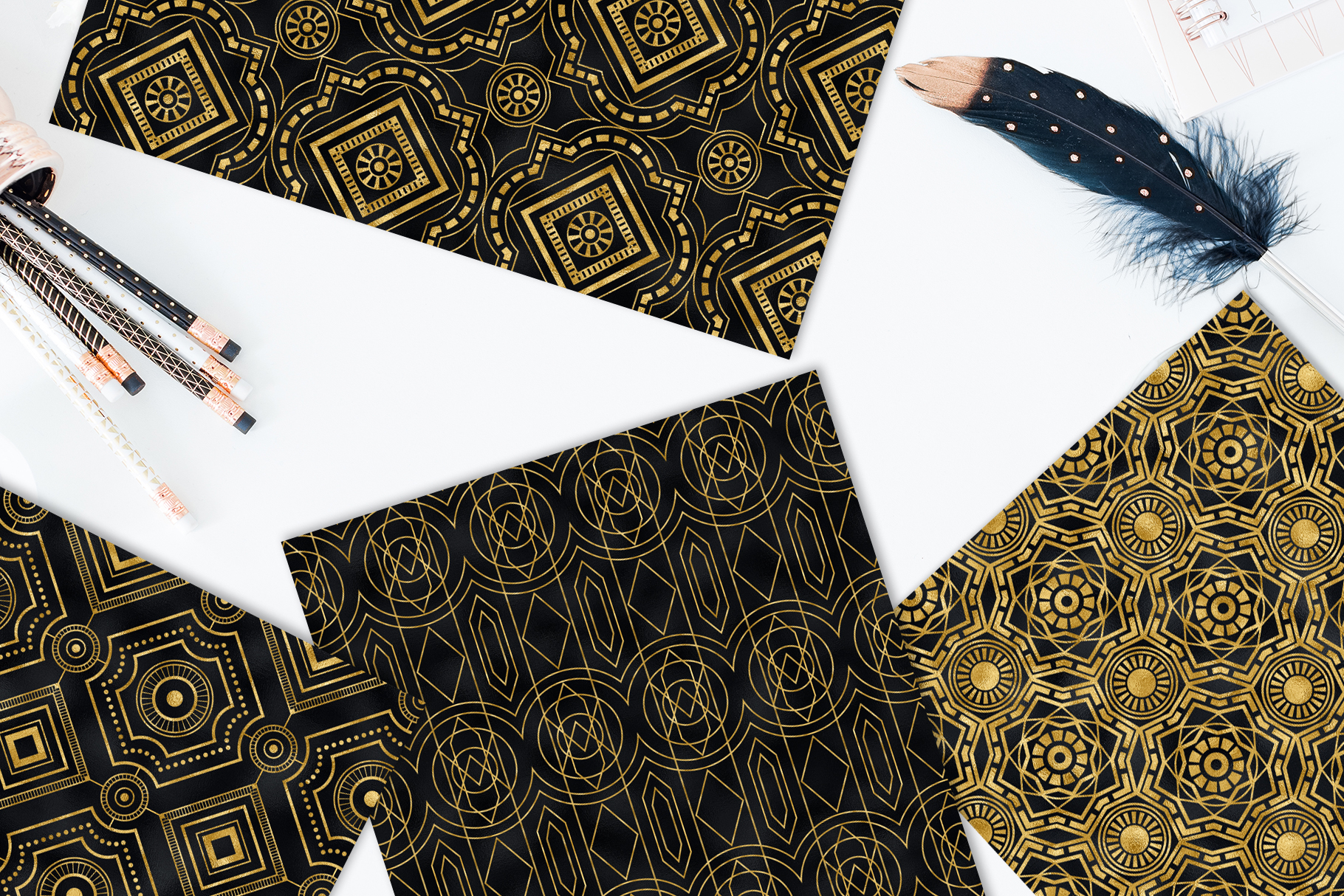 Seamless Art Deco Patterns - Black and Gold Digital Papers example image 8