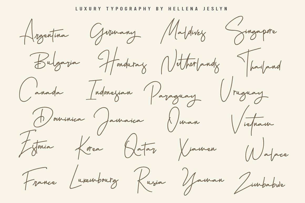 Hellena Jeslyn Signature Font Duo Free Logo example image 12