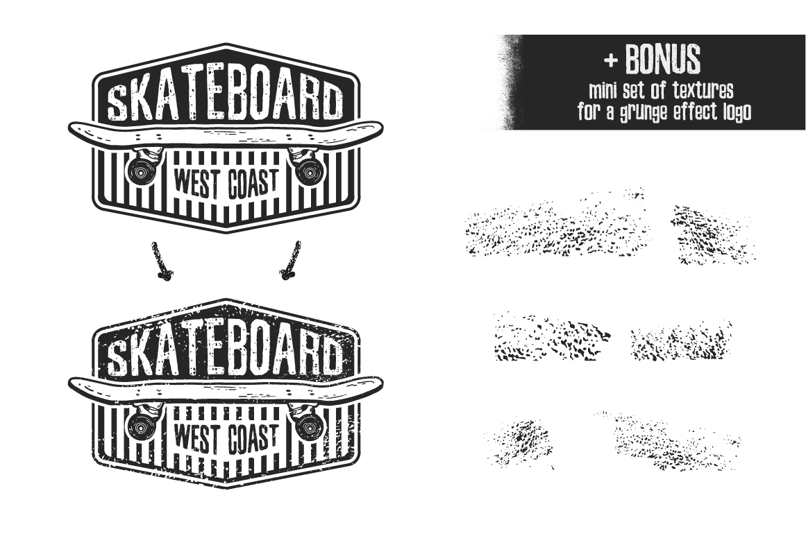 Retro skateboard | Template logo set example image 2
