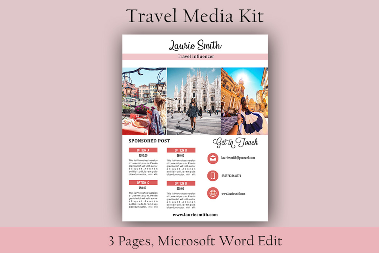 Influencer Media Kit, Travel Media Kit, Microsoft Word Edit example image 4