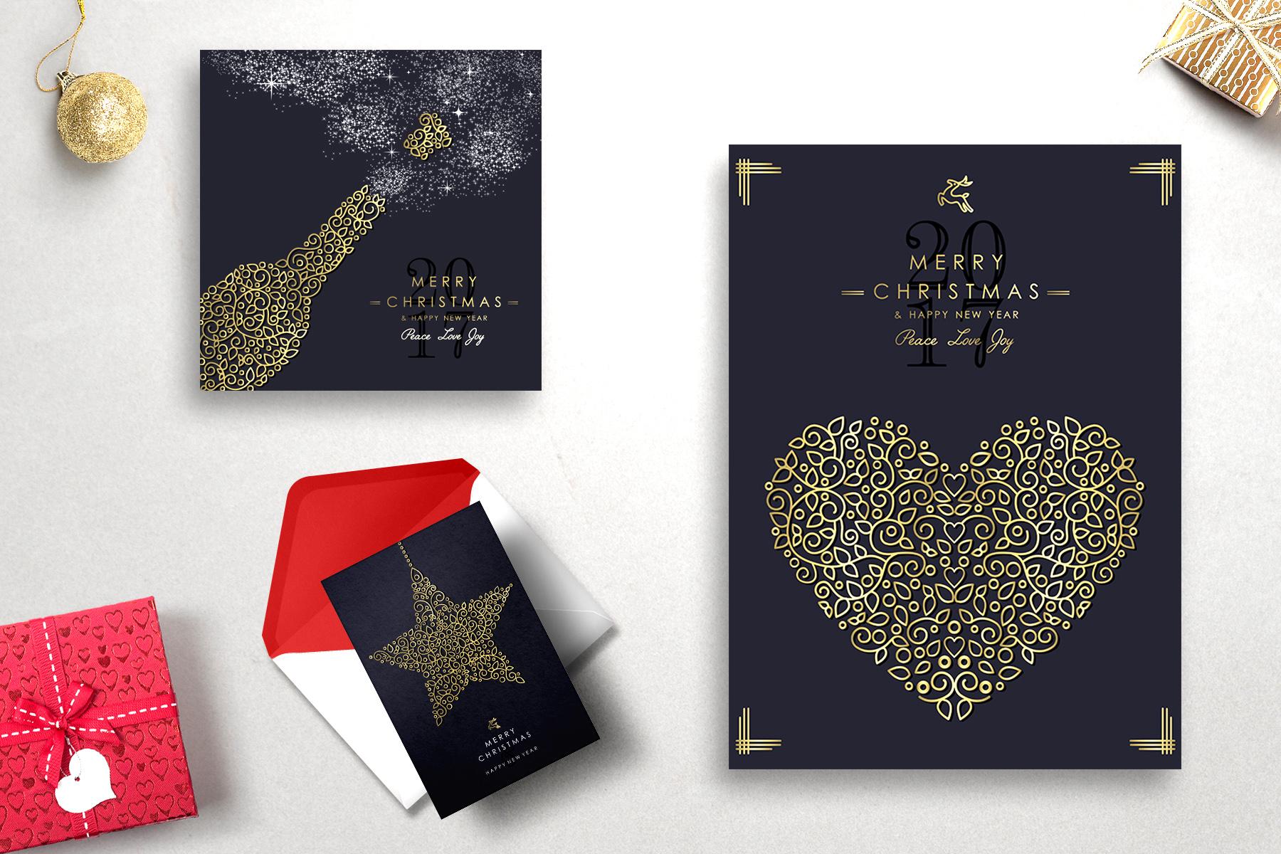 Christmas Gold Line Art Set example image 3