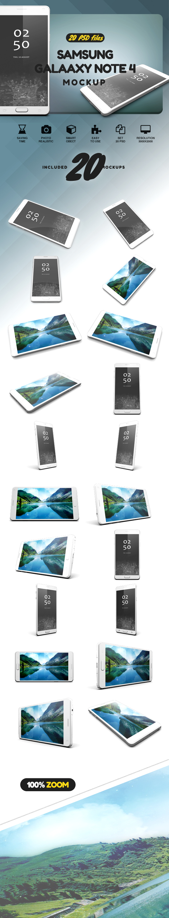 Samsung Galaxy Note 4 Mock-up example image 2