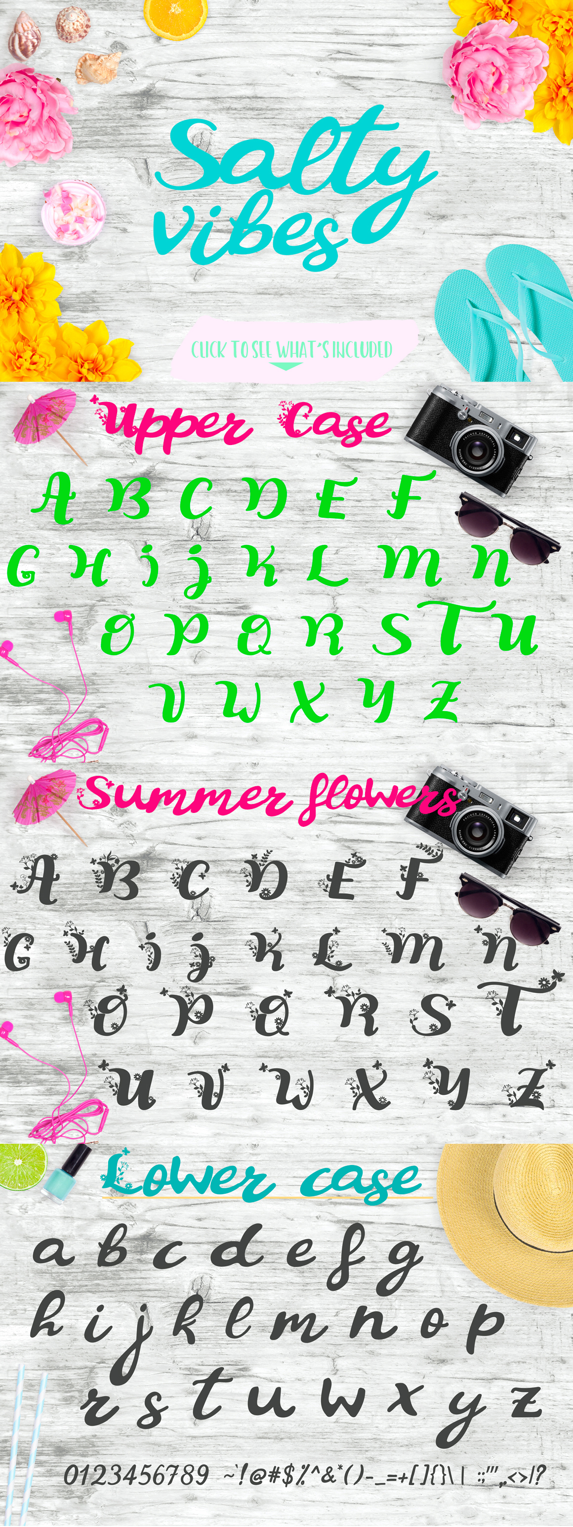 Summer Flowers Fun and Flowery Font example image 3