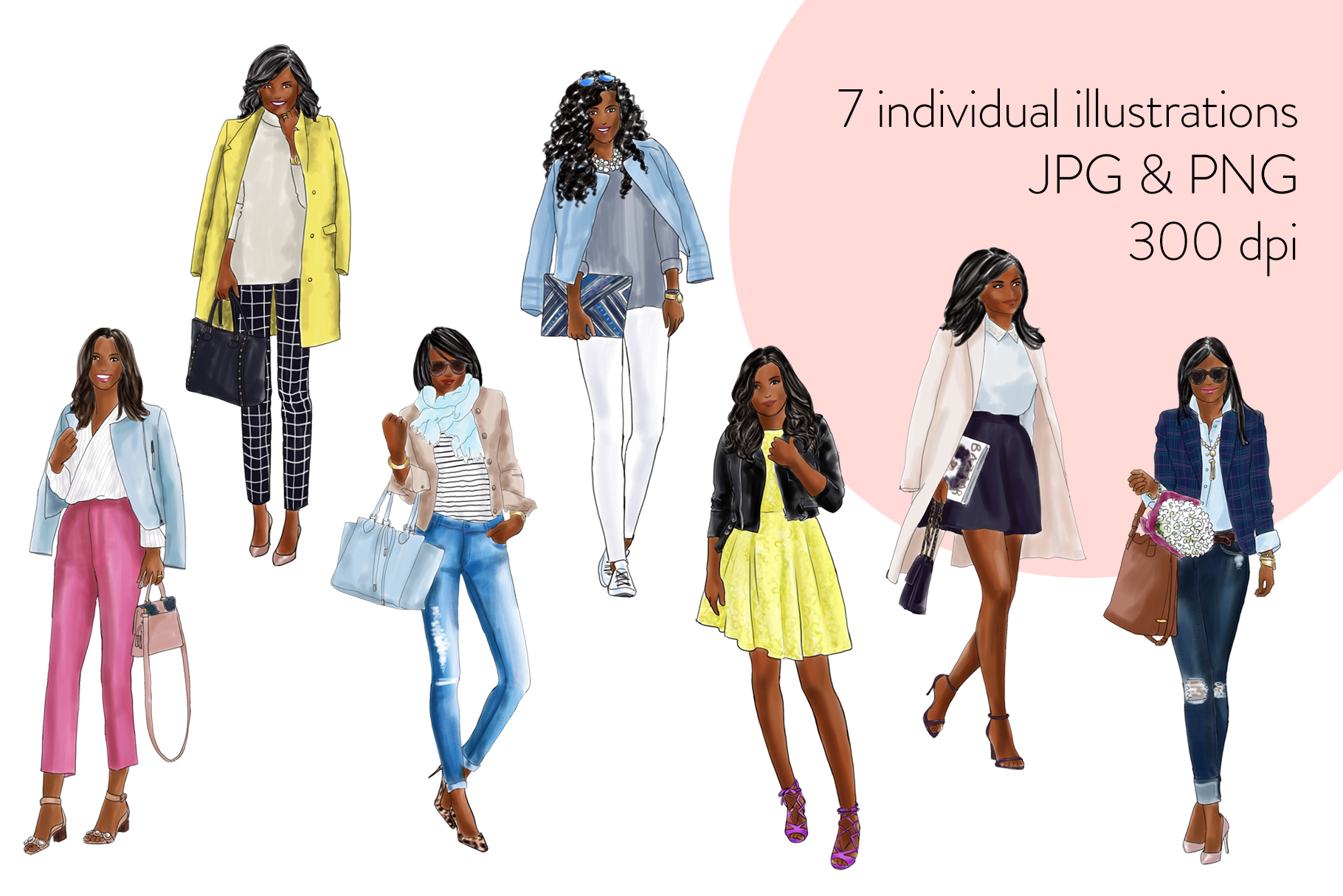 Fashion illustration clipart - Fashion Girls 21 - Dark Skin example image 2