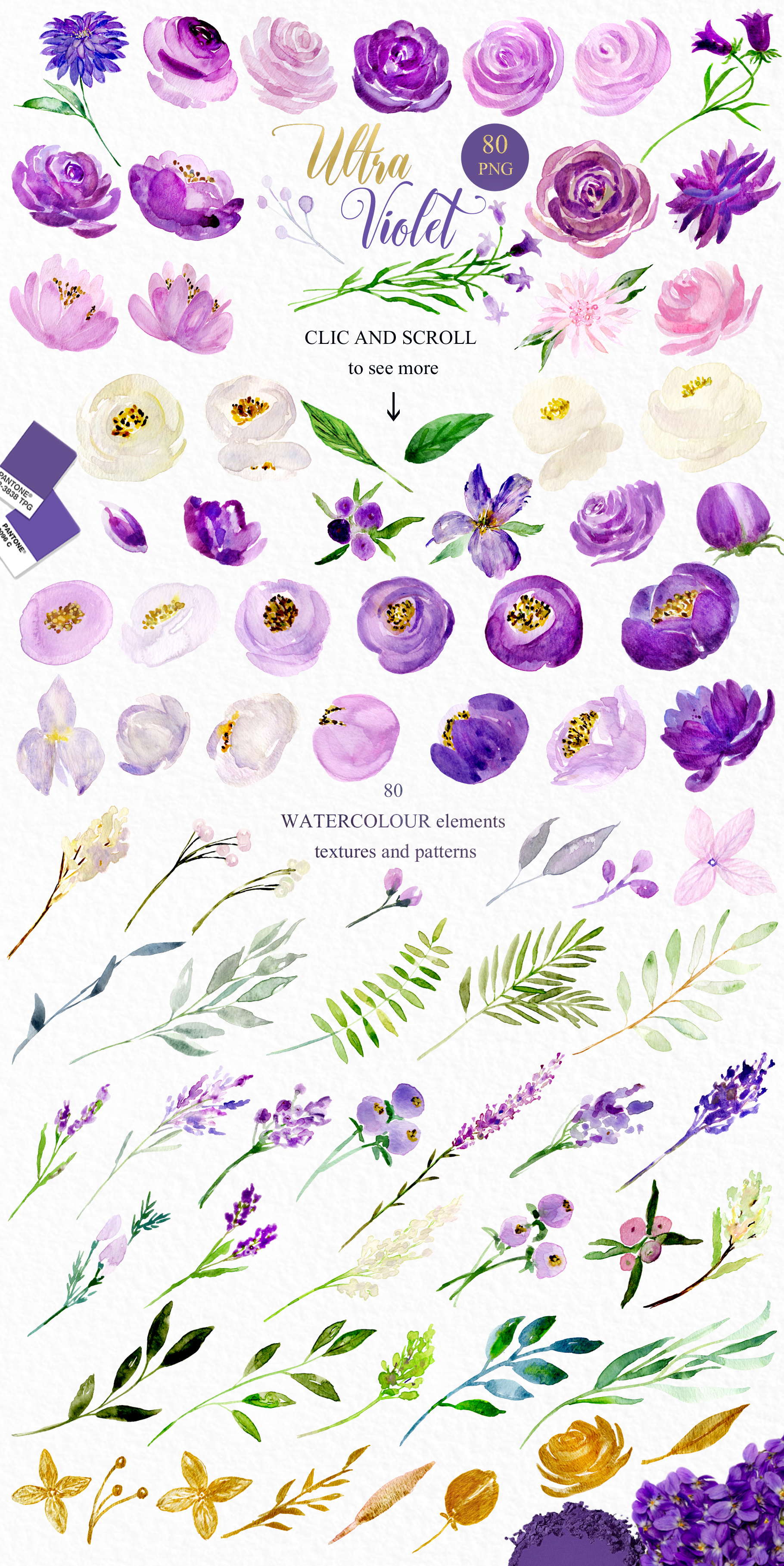 Ultra violet watercolor flowers example image 4