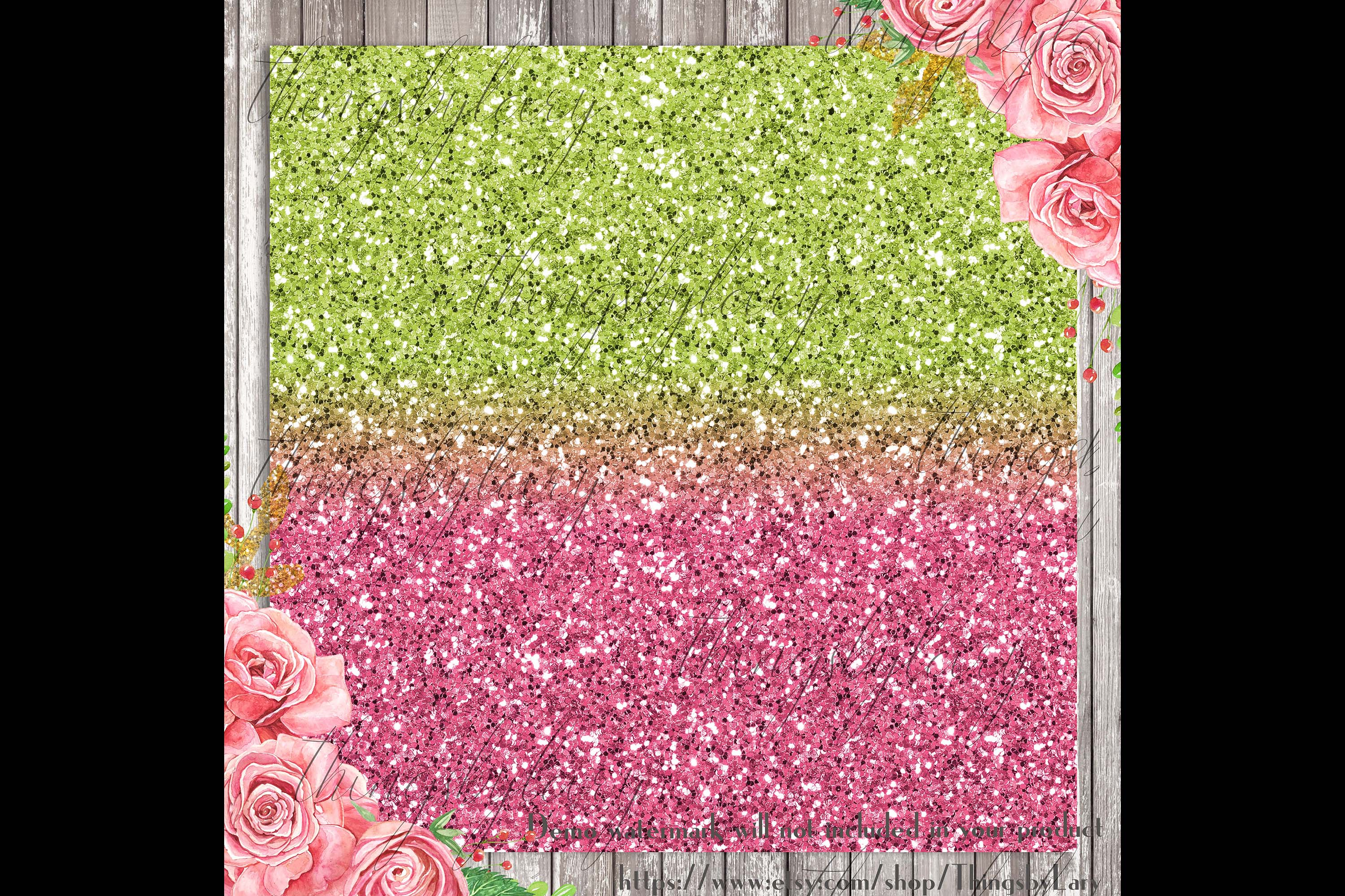 18 Ombre Pink and Lime Watermelon Glitter Digital Papers example image 2