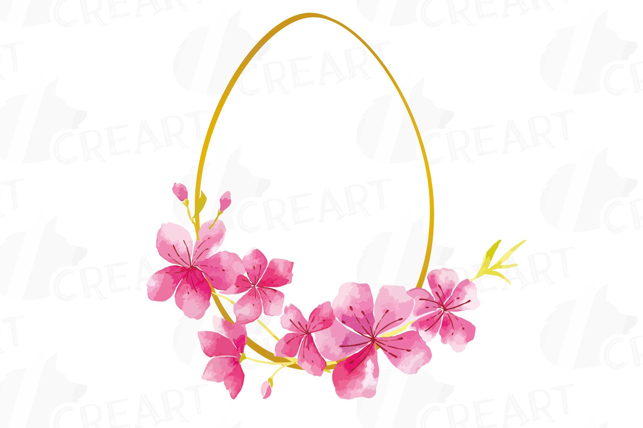 Easter golden watercolor floral frames, floral frames example image 14