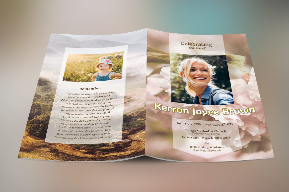 Adventure Small Funeral Program Template example image 3