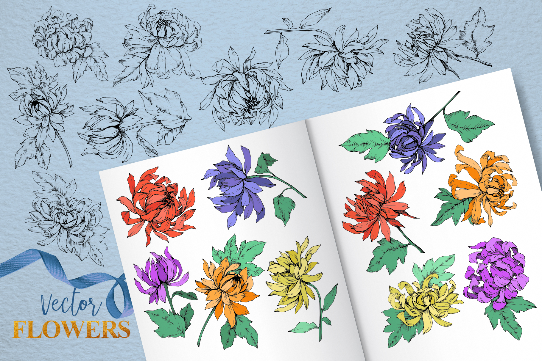 Chrysanthemum Vector Flowers example image 7