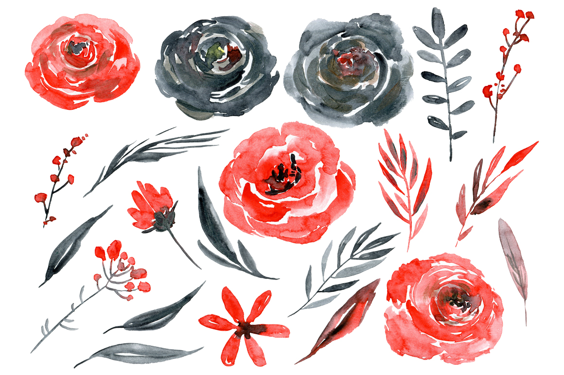 Watercolor red black gold roses flowers example image 3