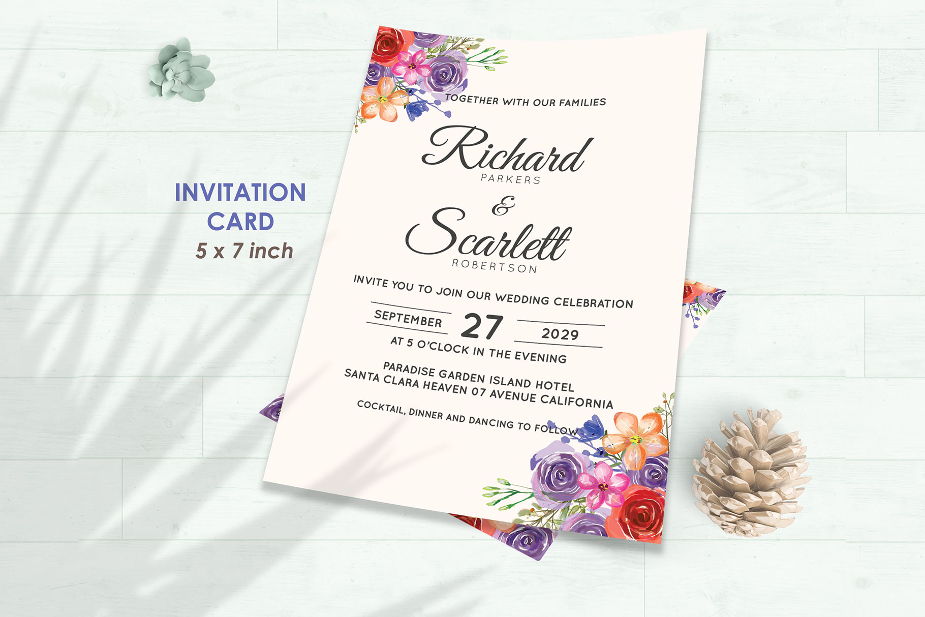 Wedding Invitation Set #10 Watercolor Floral Flower Style example image 2