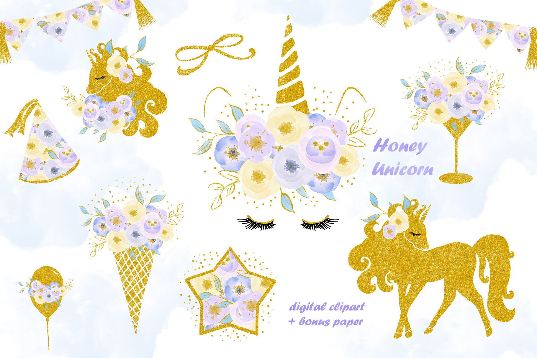 Unicorn clip art, flowers with gold example image 1