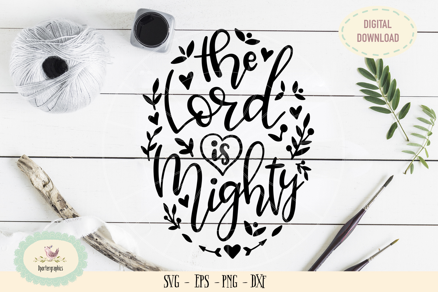 The Lord is mighty SVG PNG bible quote hand lattered example image 1