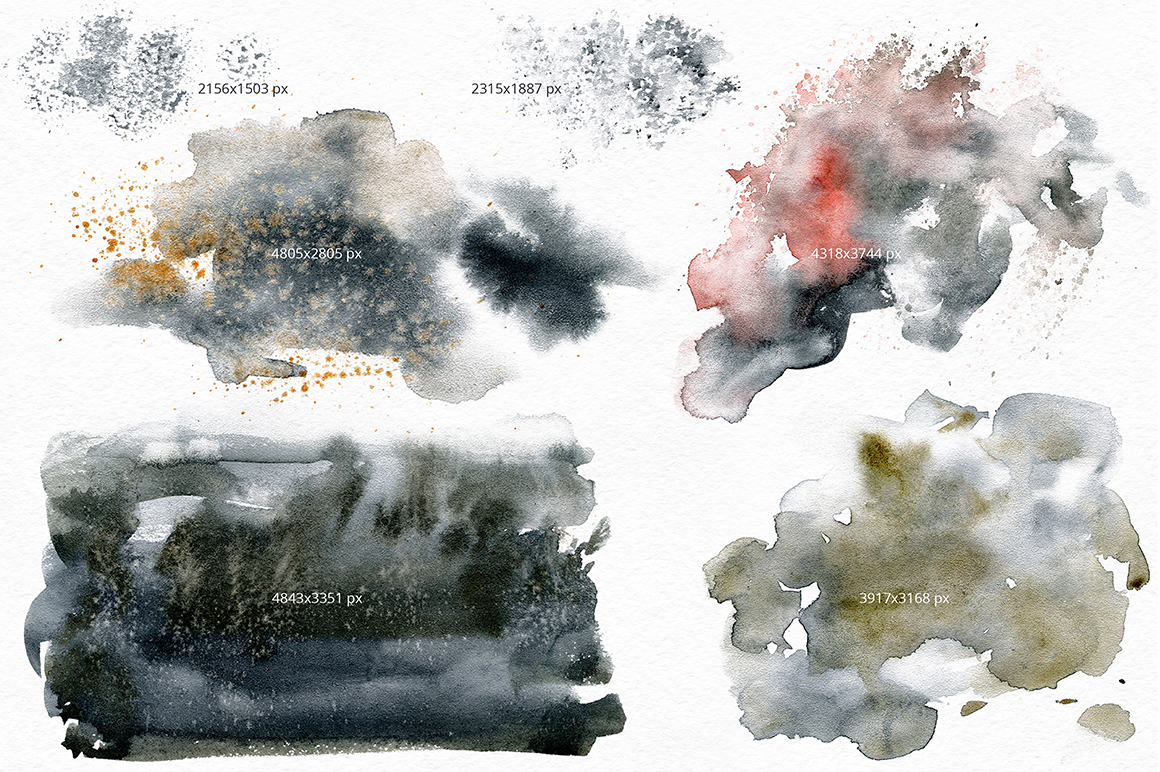 Black Sand. Watercolor texture pack. example image 7