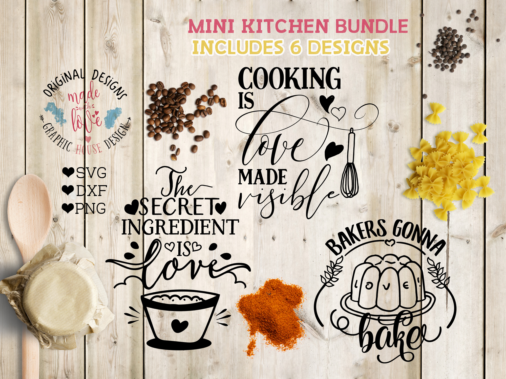 Kitchen Cutting Files Bundle SVG, DXF, PNG example image 2