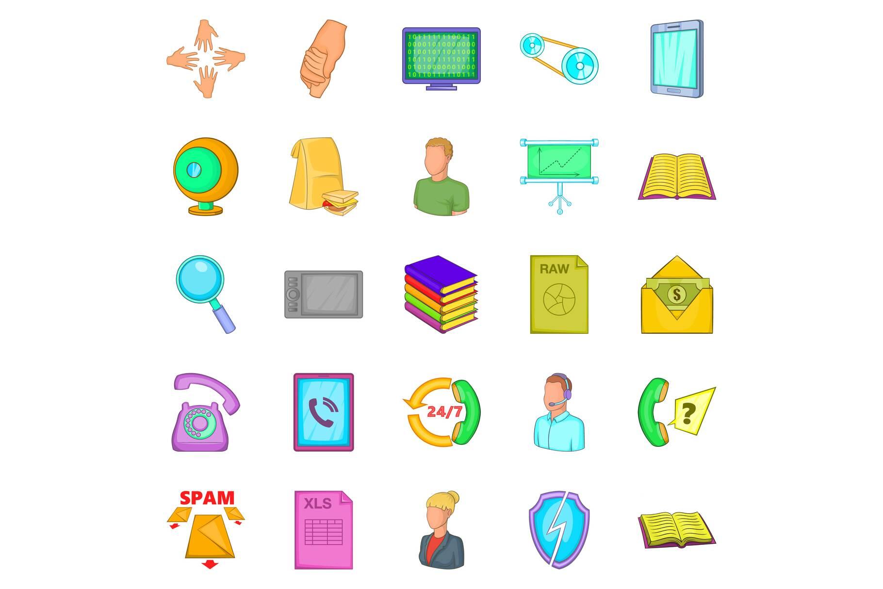Money order icons set, cartoon style example image 1