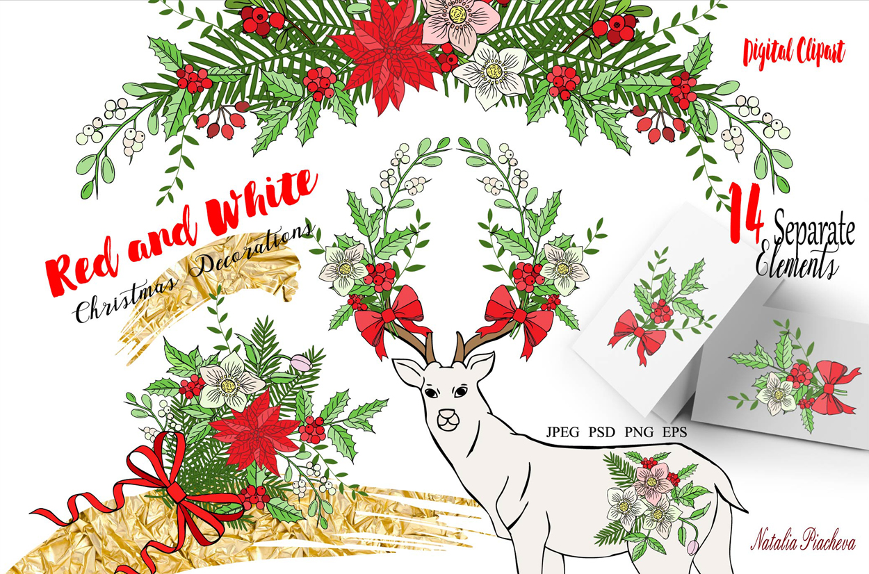 Red and White. Christmas Decorations example image 1
