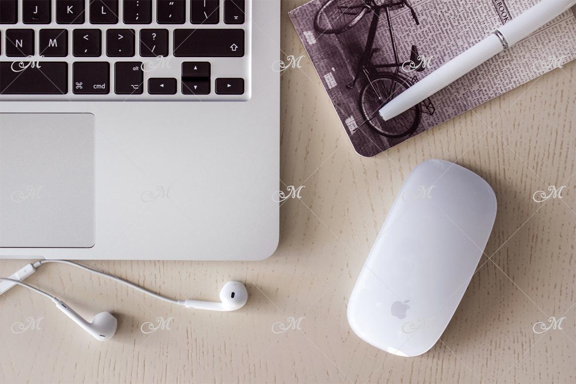Macbook Laptop Photo Mockup. Top view example image 2