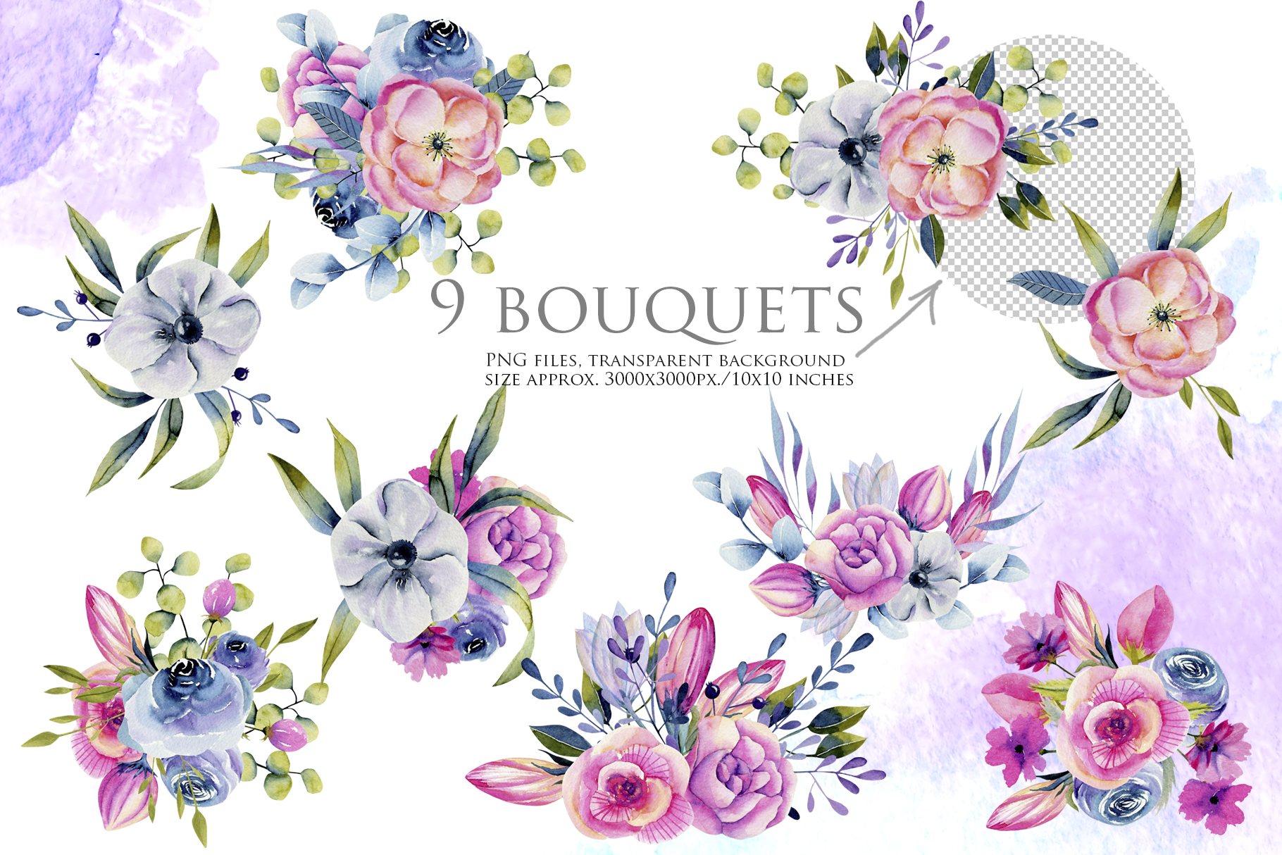 Wyoming flowers. Watercolor clipart. example image 11