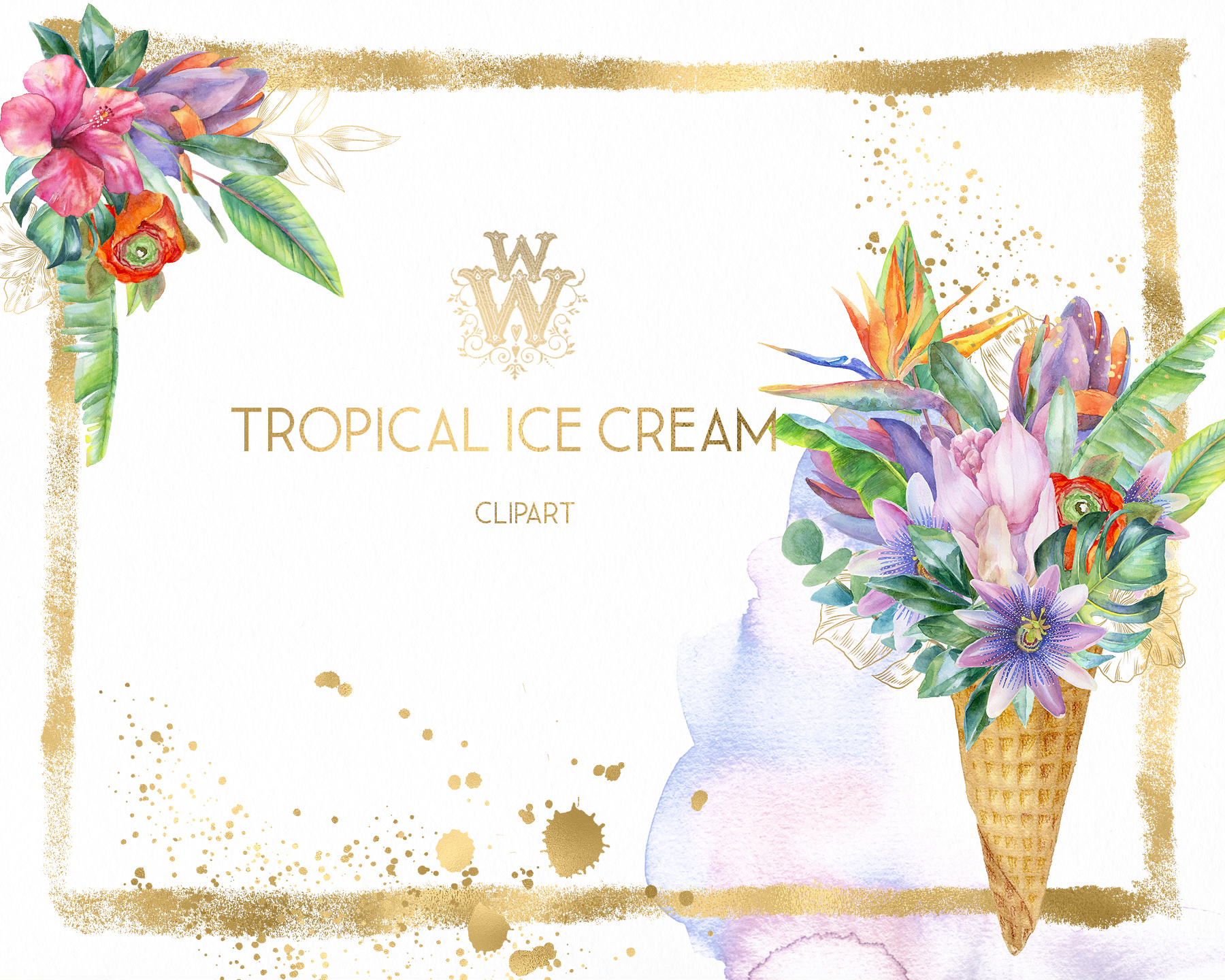 Watercolor summer tropical flower clipart, floral Ice Cream example image 8