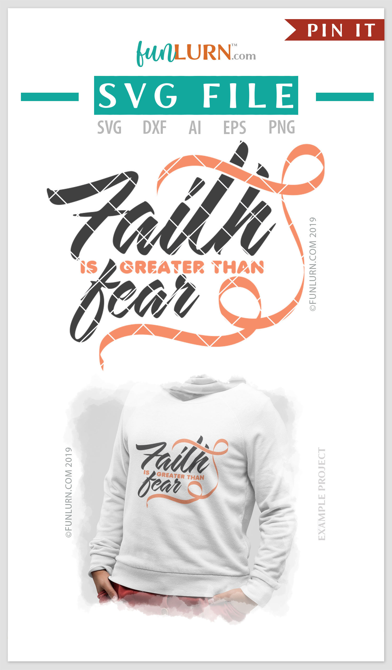 Faith is Greater Than Fear Peach Ribbon SVG Cut File example image 4