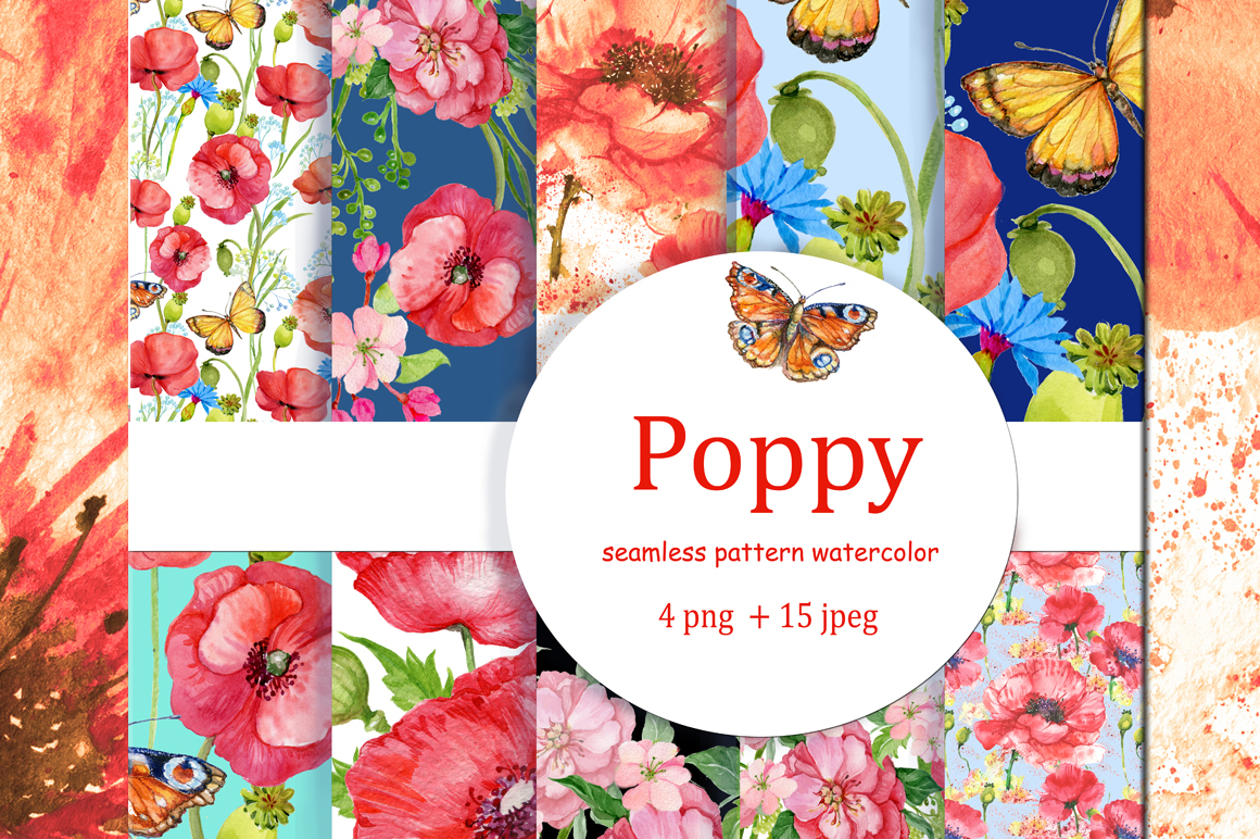 Seamless patterns. Poppies example image 1
