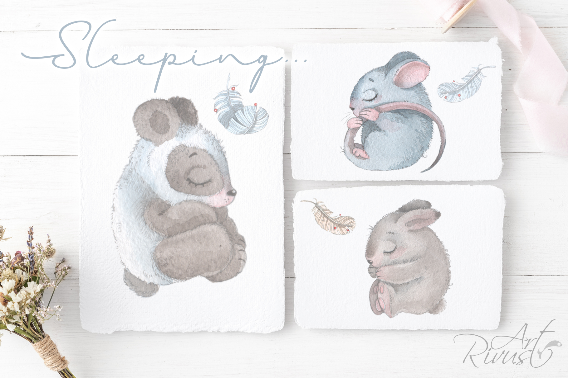 Cute sleeping baby animals watercolor clipart kit example image 9