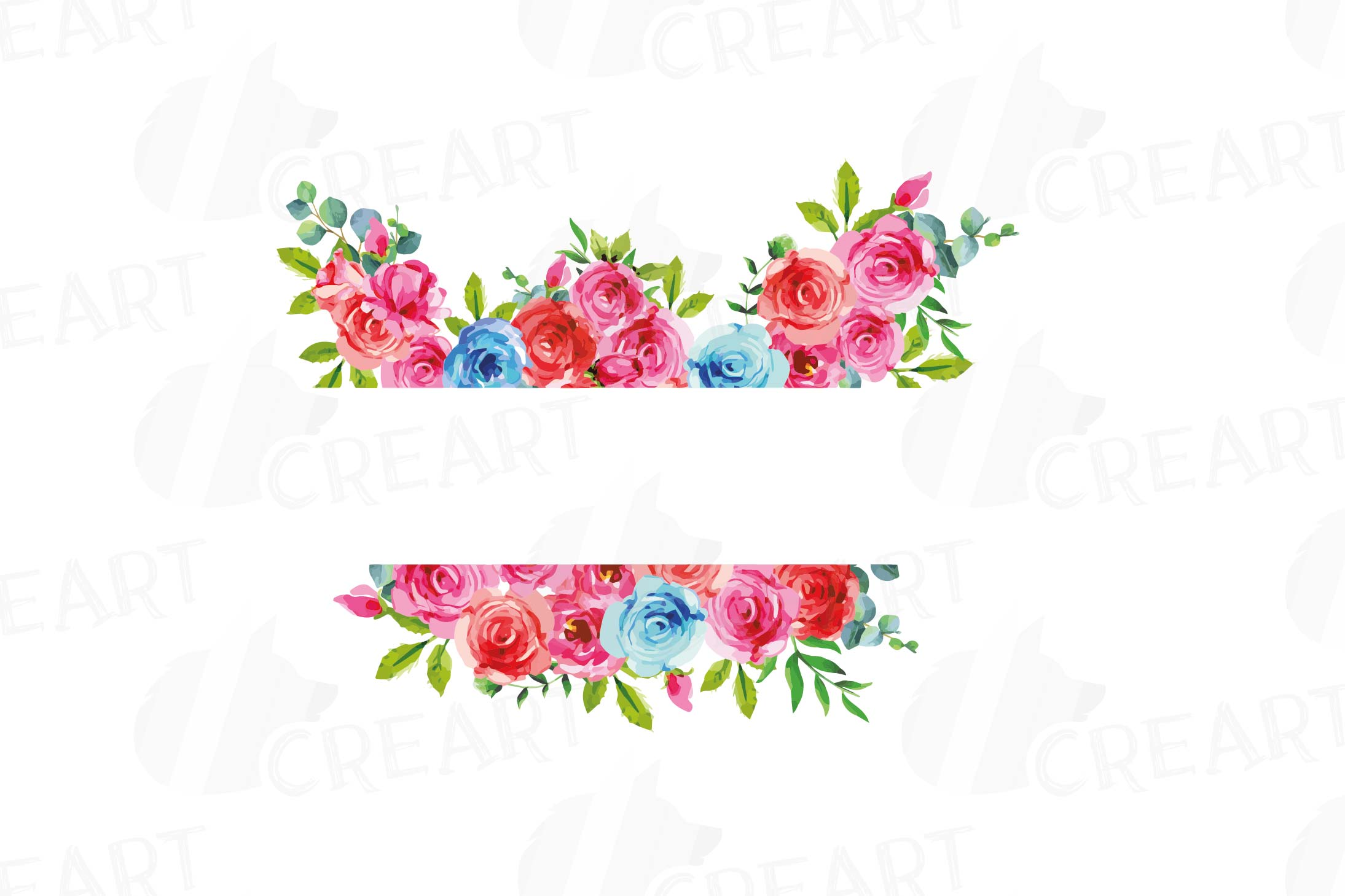 Watercolor Pink and Blue Roses and leafs clip art pack, png example image 12