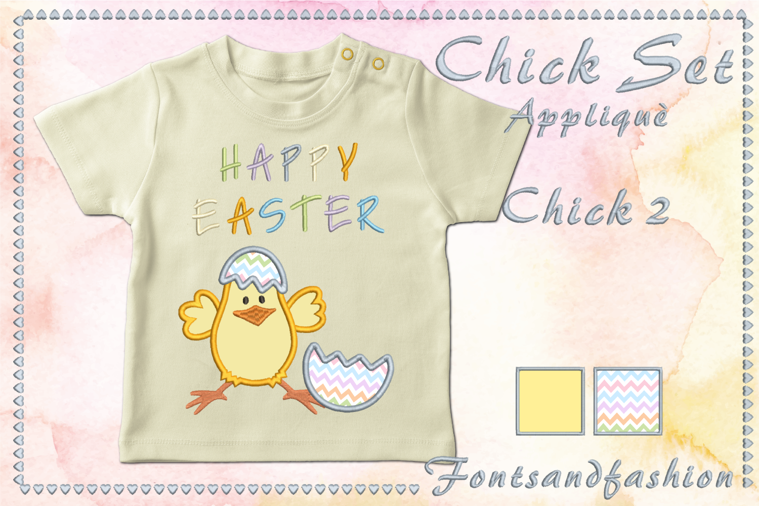 Chick Set_Appliquè example image 4