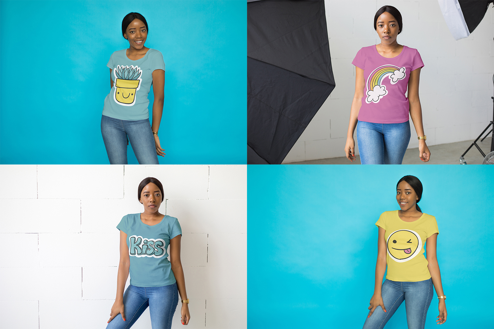 African Girl T-Shirt Mock-Up Set example image 6
