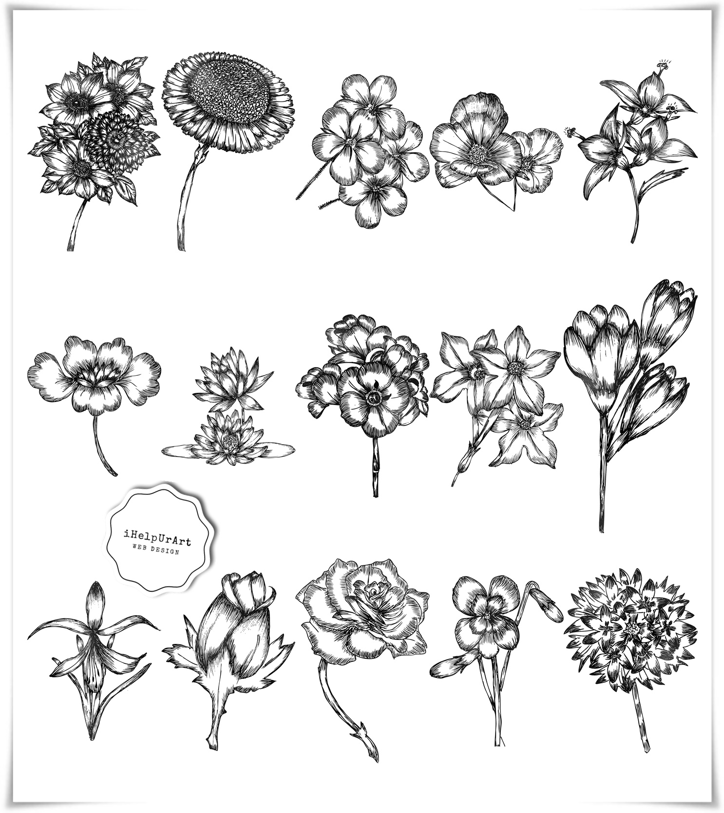 Modern Flowers Clipart example image 2