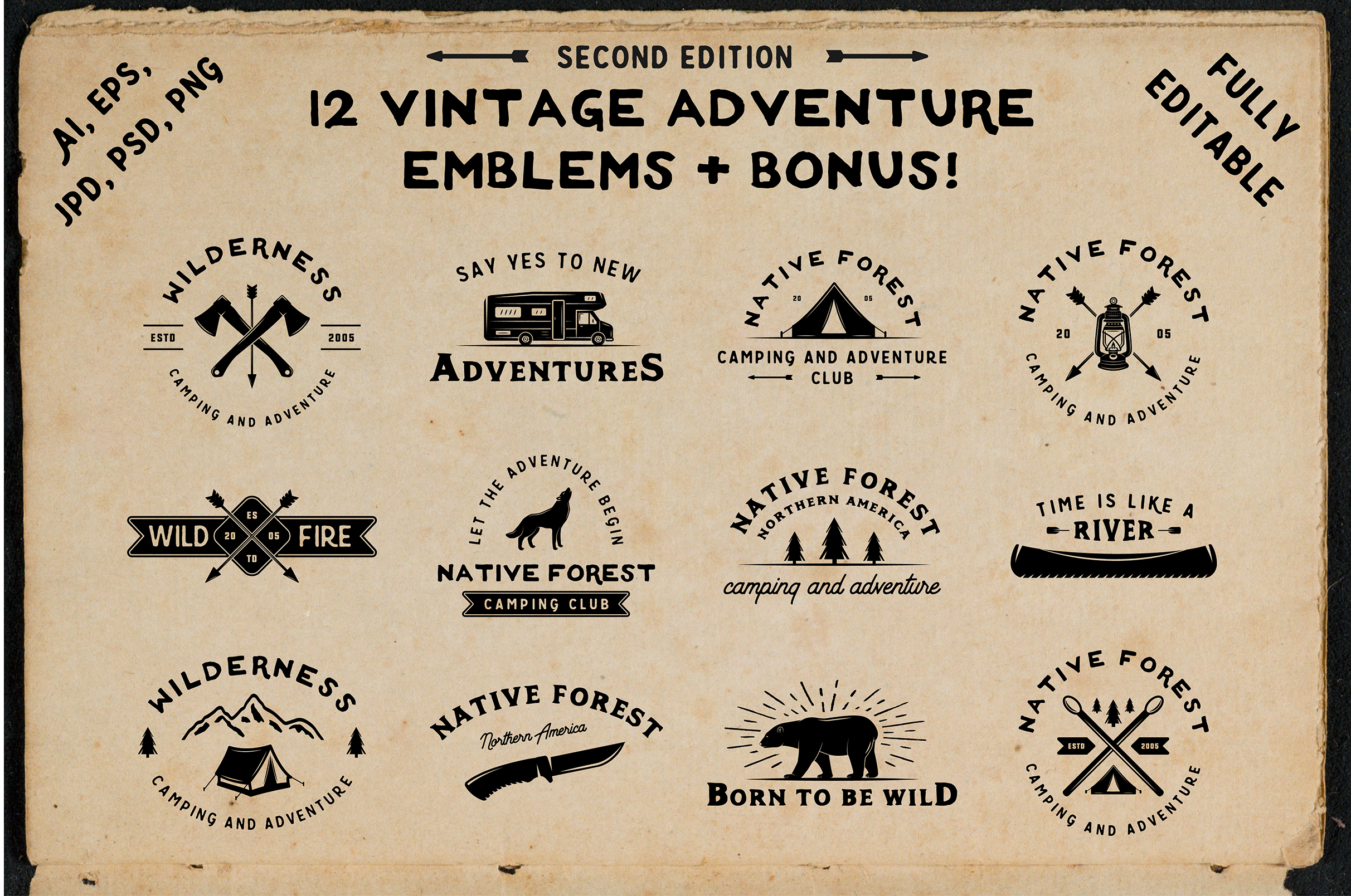 12 vintage adventure emblems example image 1