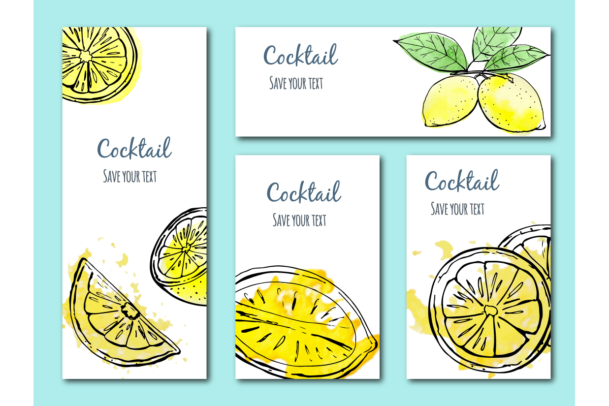 Sketch lemons. Watercolor. Vector. example image 8