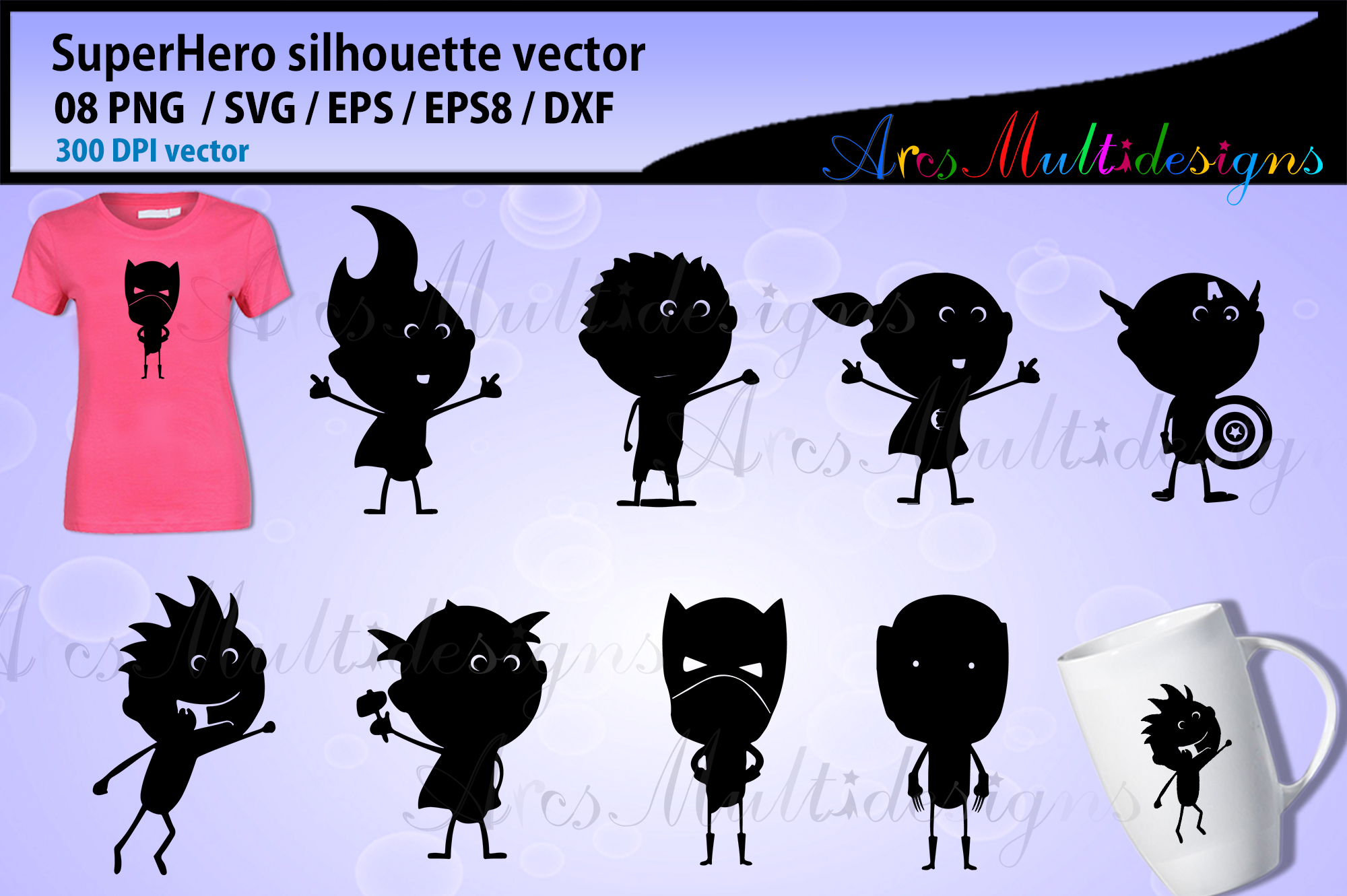 Superhero silhouette vector / Superhero graphics - doodle example image 1