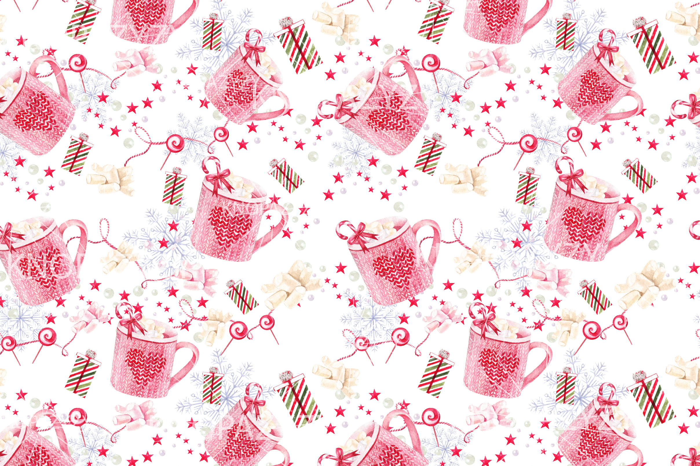 Hand Drawn Watercolor Christmas 13 Patterns example image 13