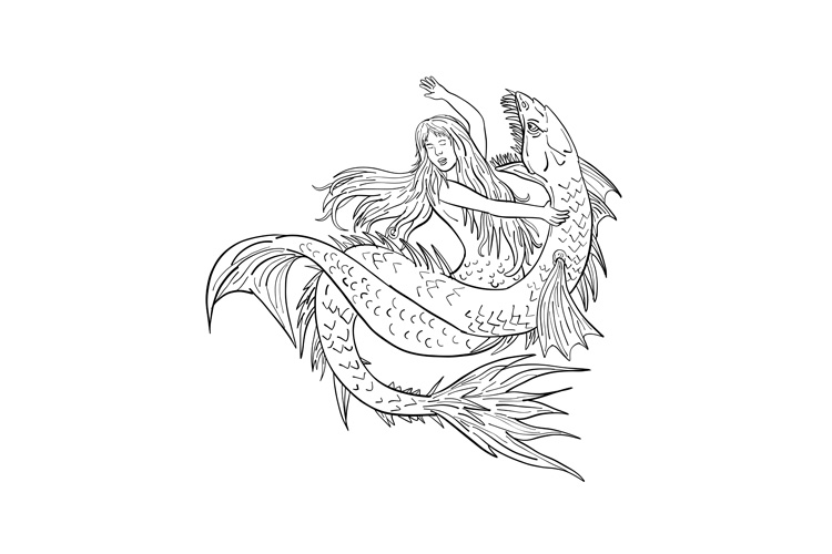 Mermaid Fighting a Sea Serpent Drawing Black and White example image 1