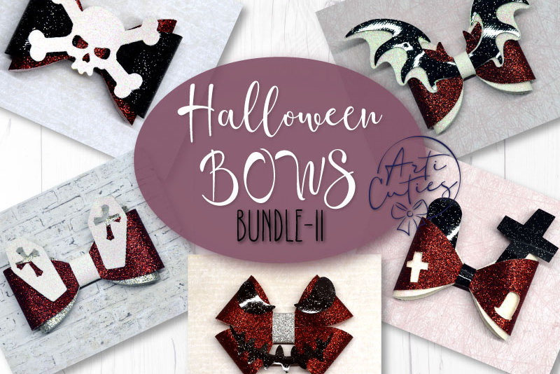 5 Hair bow template SVG, Halloween faux leather bow template example image 1