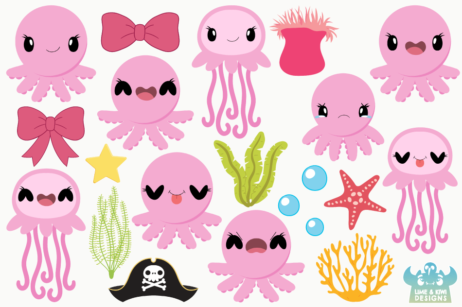 Octopus & Jellyfish 1 Clipart, Instant Download Vector Art example image 2