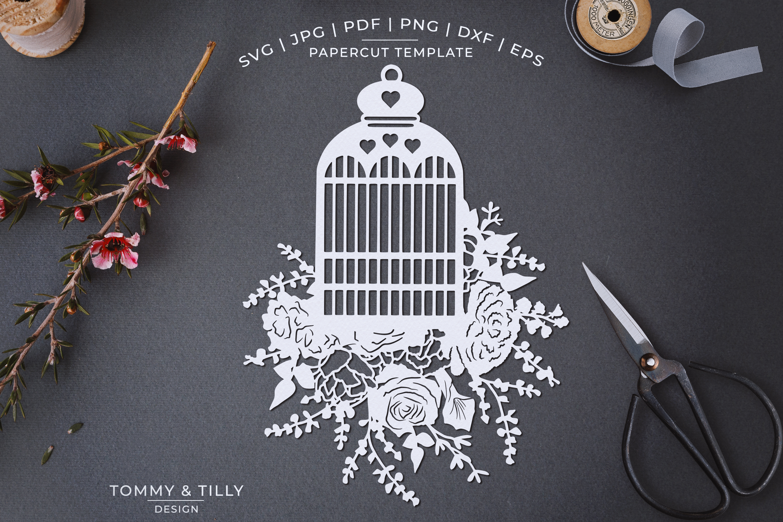 Romantic Floral Birdcage - Papercut Template SVG JPG PNG example image 1