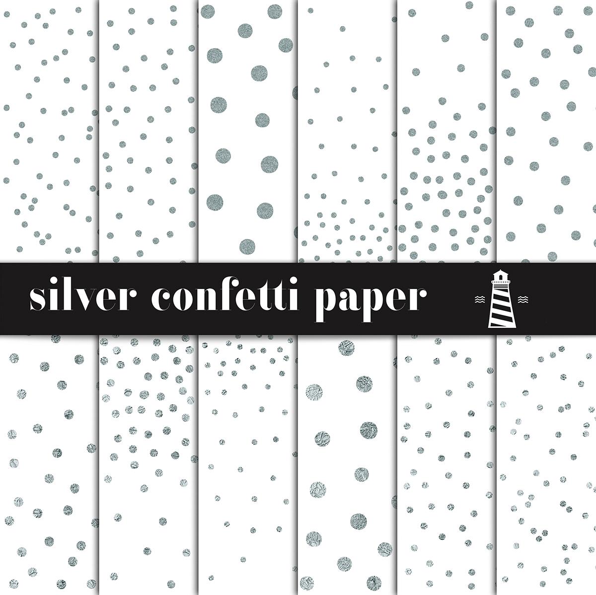 Silver Confetti Digital Paper example image 1