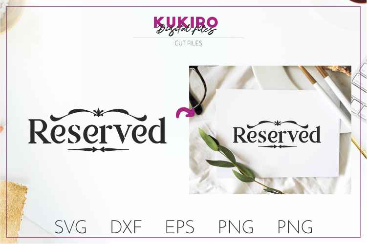 Reserved - Wedding cut file SVG JPG PNG DXF EPS example image 1