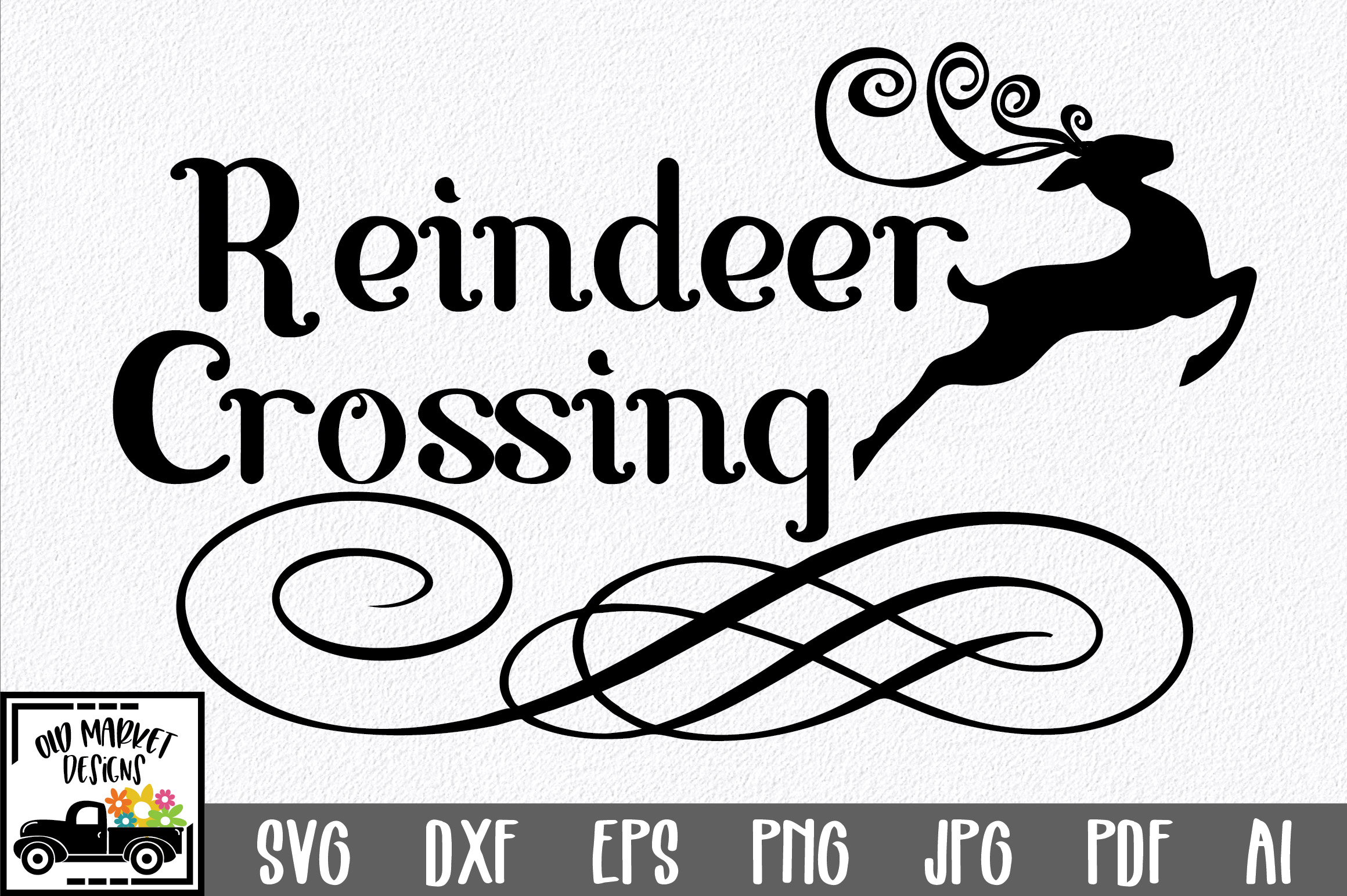 Christmas SVG Cut File - Reindeer Crossing SVG DXF PNG EPS example image 1