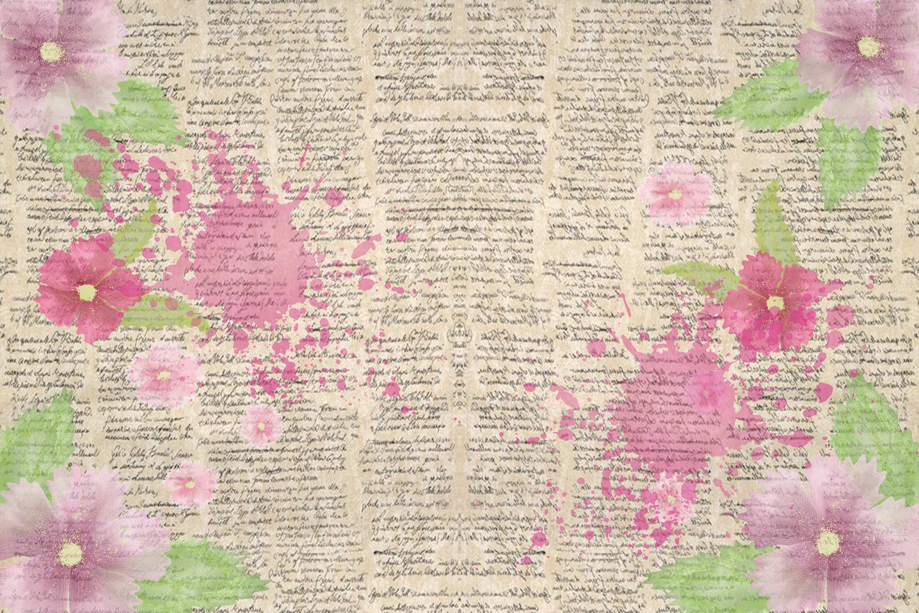 Watercolour Florals Journal Backgrounds 28 pages example image 2