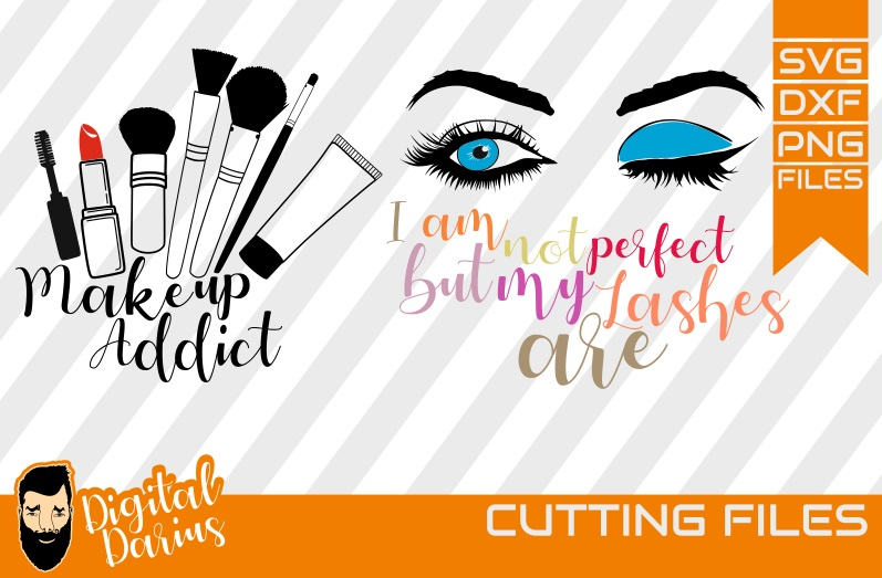 2x Make up addict svg, Mascara svg, Lipstick, Cricut, vector example image 1