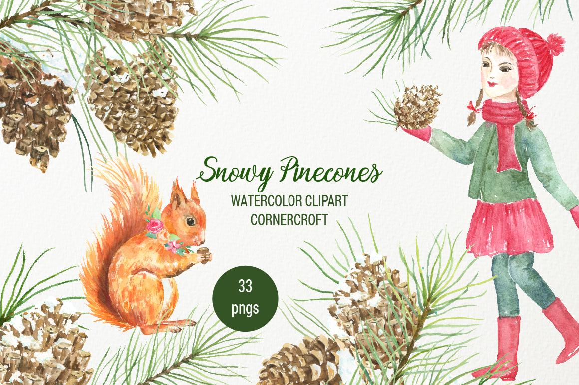 Snowy Pine Cones Watercolor Clipart example image 7
