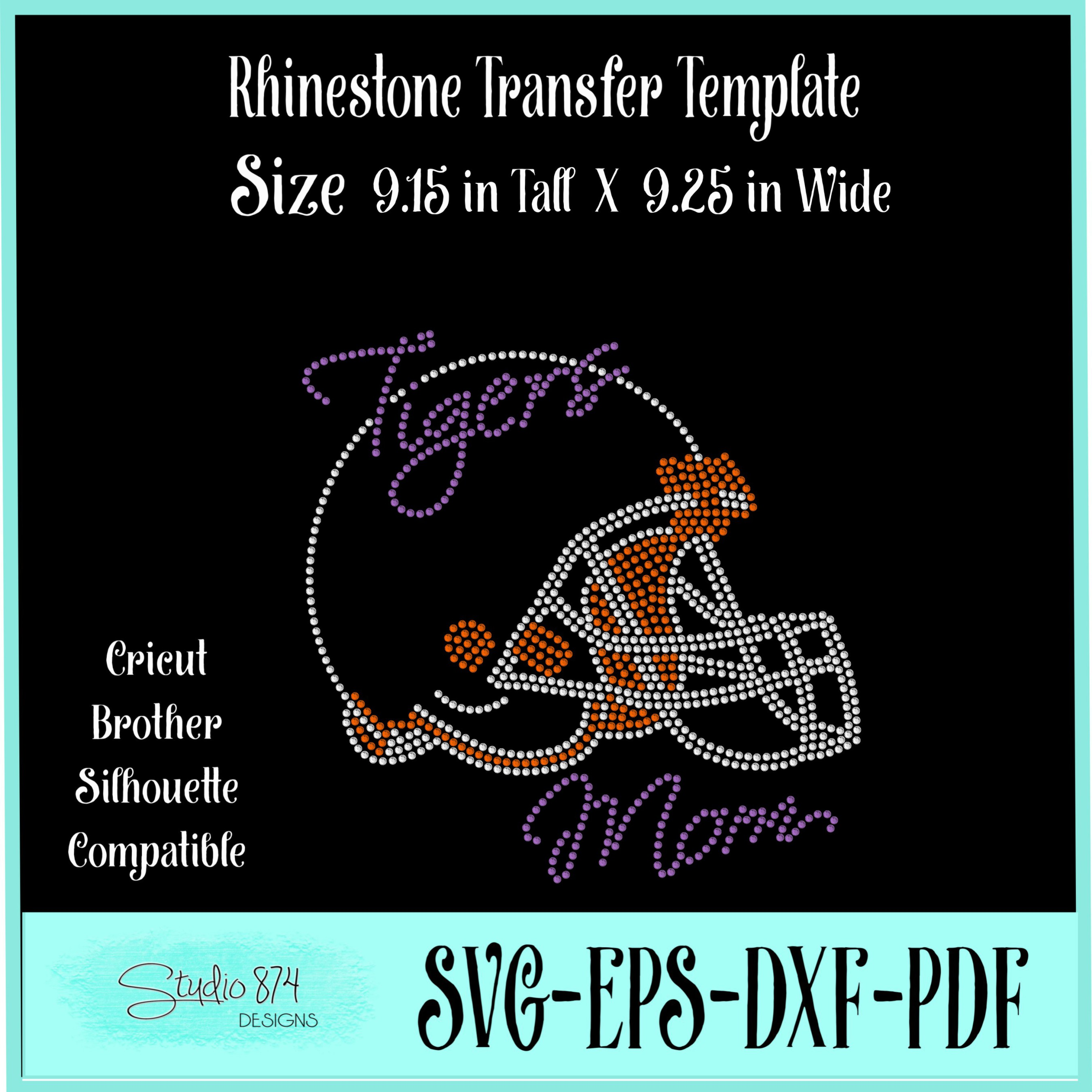 Tigers Football Rhinestone Template Download Mom R1 example image 2