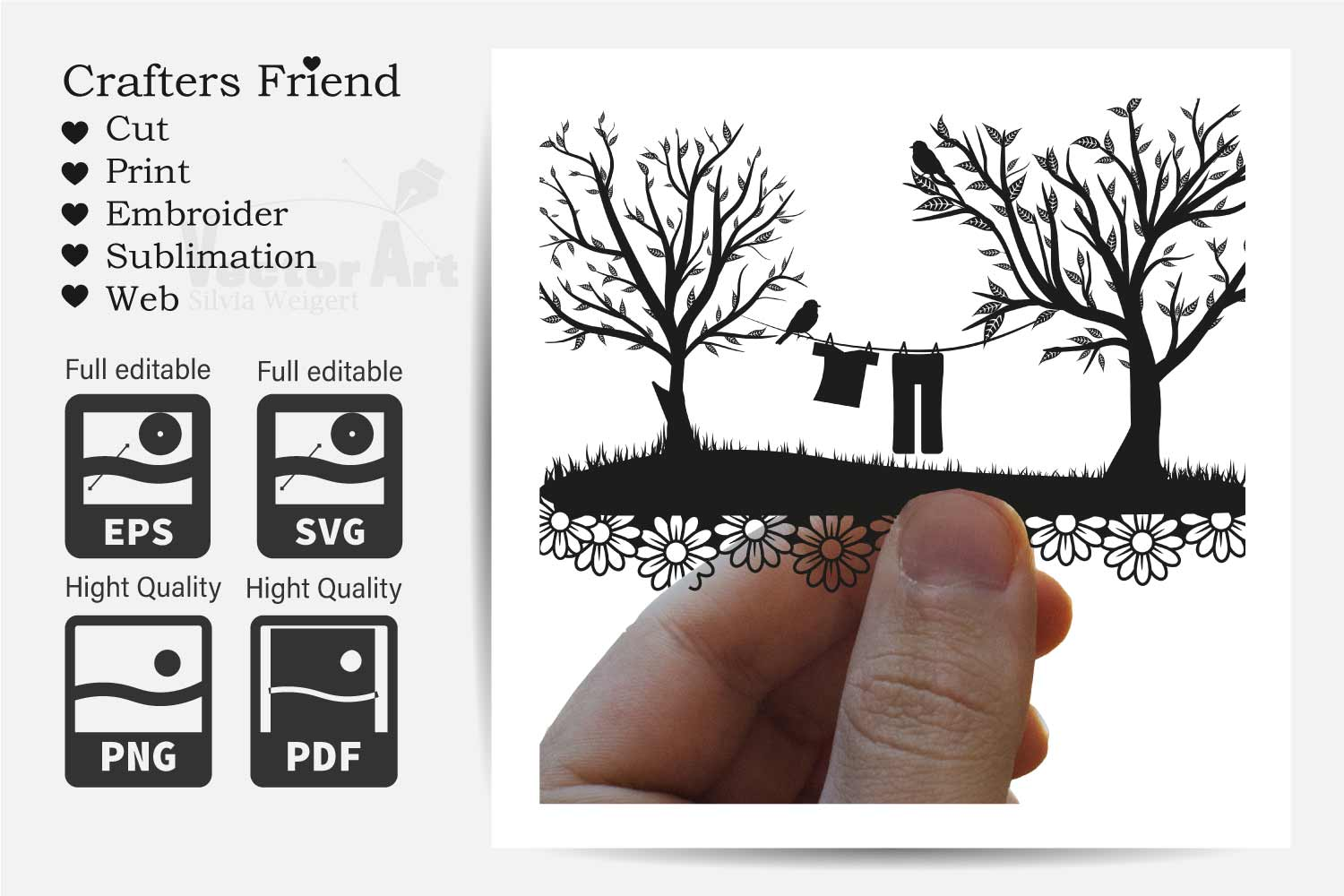Trees and Clothes line - Cut File for Crafter example image 3