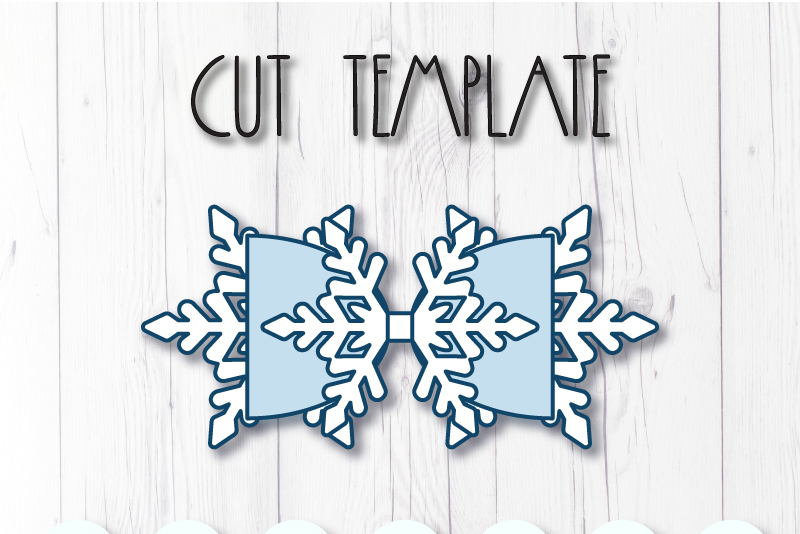 Snowflake Hair bow template SVG, DIY leather bow template example image 2