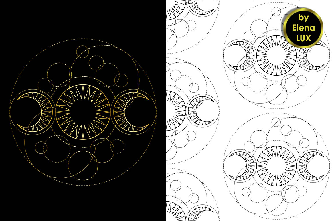 Triple Moon Tattoo Seamless Pattern Set example image 2